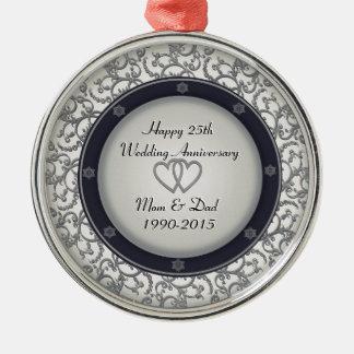 het 25ste Jubileum van de Zilveren bruiloft Zilverkleurig Rond Ornament