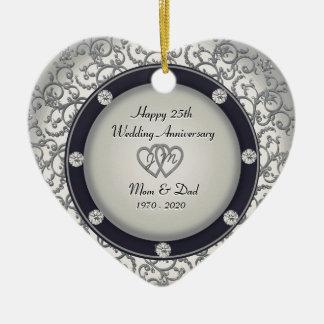 het 25ste Jubileum van het Huwelijk Keramisch Hart Ornament