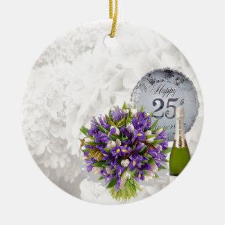 het 25ste Jubileum van het Huwelijk Rond Keramisch Ornament