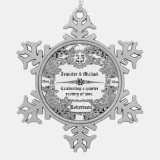 het 25ste Jubileum van het Huwelijk Sillver Tin Sneeuwvlok Ornament