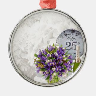 het 25ste Jubileum van het Huwelijk Zilverkleurig Rond Ornament