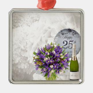 het 25ste Jubileum van het Huwelijk Zilverkleurig Vierkant Ornament