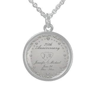 het 25ste Zilveren Monogram van het Jubileum Sterling Zilver Ketting