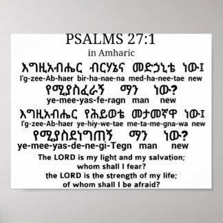 Het 27:1 van psalmen in Poster Amharic