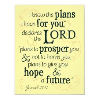 Het 29:11 van Jeremiah ken ik de plannen ik voor Foto Afdruk