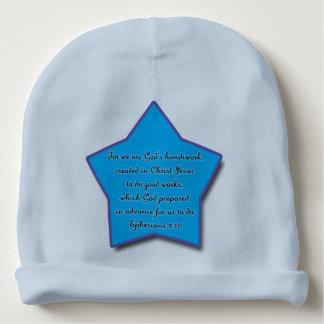 Het 2:10 van Ephesians, de Blauwe Ster van het Baby Mutsje