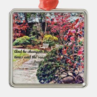 Het 2:21 van Daniel - en hij Changeth Zilverkleurig Vierkant Ornament