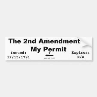 Het 2de Amendement is Mijn Vergunning Bumpersticker