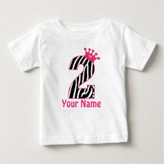 het 2de Roze Zebra Gepersonaliseerde Overhemd van Baby T Shirts