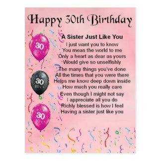 het 30ste Gedicht van de Zuster van de Verjaardag Briefkaart