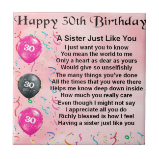 het 30ste Gedicht van de Zuster van de Verjaardag Tegeltje Vierkant Small