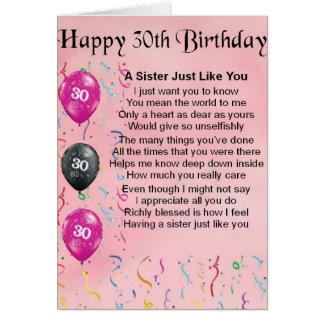 het 30ste Gedicht van de Zuster van de Verjaardag Wenskaart