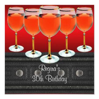 het 30ste Glas van de Rode Wijn van de Verjaardag 13,3x13,3 Vierkante Uitnodiging Kaart