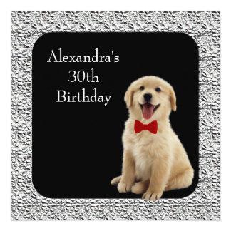 het 30ste Golden retriever van de Verjaardag & 13,3x13,3 Vierkante Uitnodiging Kaart