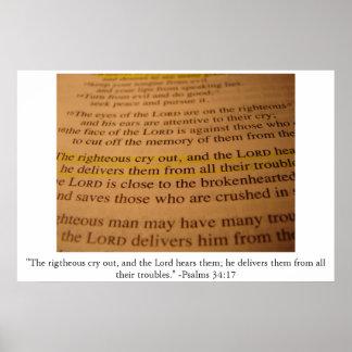 Het 34:17 van de psalm poster