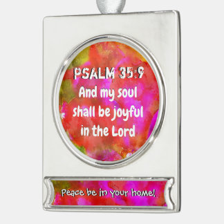 Het 35:9 van de psalm verzilverd banner ornament