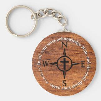 Het 3:6 van gezegden leidt Uw Kompas van het Vers Sleutelhanger