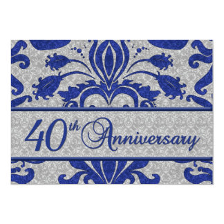 het 40ste Blauw Van het Bedrijfs Jubileum van de 12,7x17,8 Uitnodiging Kaart