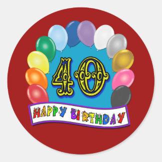 het 40ste Ontwerp van de Ballons van de Verjaardag Ronde Sticker