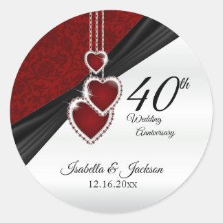 het 40ste Robijnrode Jubileum van het Huwelijk Ronde Sticker