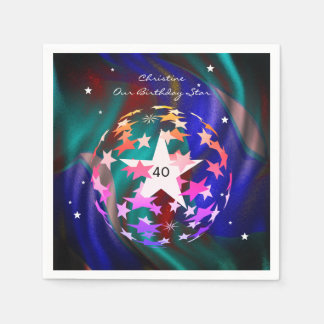 het 40ste Wereldbol van de Verjaardag van Sterren Papieren Servetten