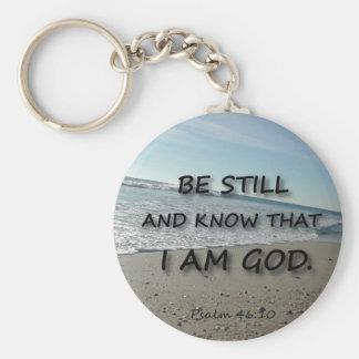 Het 46:10 van de psalm - ben nog basic ronde button sleutelhanger