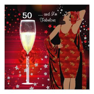 het 50ste Diva van de Partij van de Verjaardag 13,3x13,3 Vierkante Uitnodiging Kaart