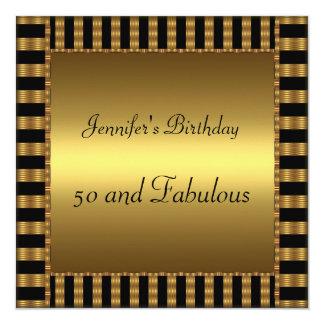 het 50ste Goud van de Partij van de Verjaardag Om 13,3x13,3 Vierkante Uitnodiging Kaart