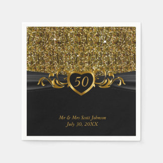 het 50ste Jubileum van de Gouden bruiloft Wegwerp Servetten