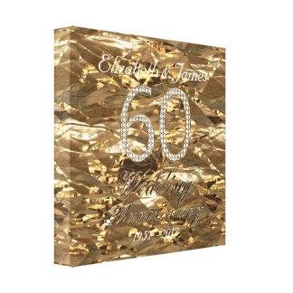 het 60ste Goud van de Diamanten bruiloft van het Canvas Afdruk
