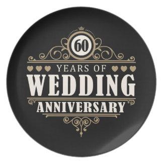 het 60ste Jubileum van het Huwelijk Party Bord