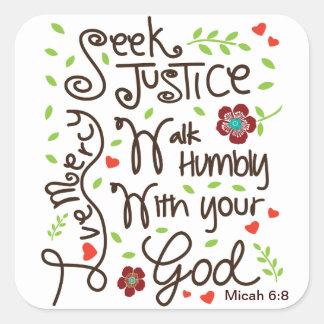 Het 6:8 van Micah streeft naar de Genade van de Vierkante Sticker