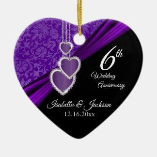 het 6de of 33ste Violetkleurige Paarse Jubileum Keramisch Hart Ornament