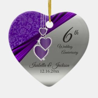 het 6de Violetkleurige Paarse Jubileum van het Keramisch Hart Ornament