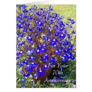 het 70ste Jubileum Blauwe Lobelia van het Huwelijk Wenskaart