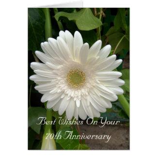 het 70ste Jubileum Witte Gerbera van het Huwelijk Wenskaart