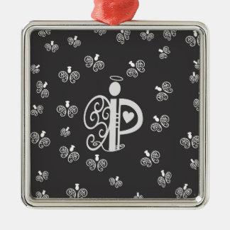 Het Aanvankelijke Monogram van de brief P met Zilverkleurig Vierkant Ornament
