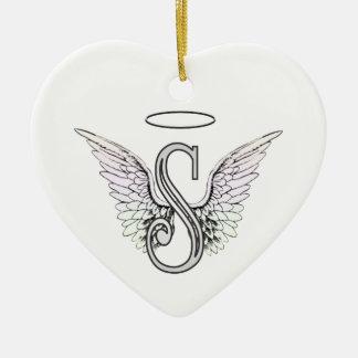 Het Aanvankelijke Monogram van de brief S met de Keramisch Hart Ornament