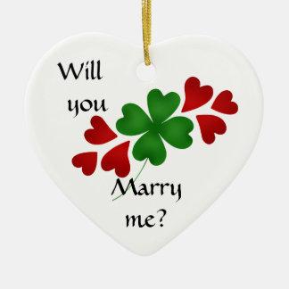 Het aanzoek van de klaver keramisch hart ornament