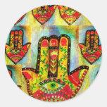 Het abstracte Art. van de Hand Hamsa Ronde Stickers