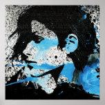 Het abstracte Blauwe Zwarte Witte Art. van de Wate Posters