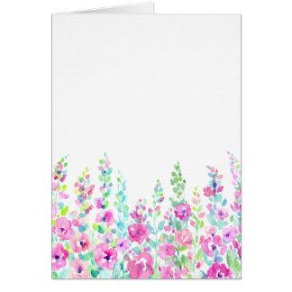 Het abstracte bloemenbed van de waterverf briefkaarten 0