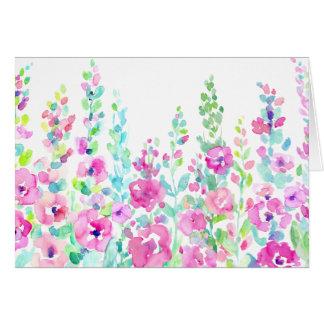 Het abstracte bloemenbed van de waterverf wenskaart