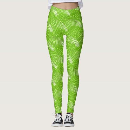 Het abstracte Groene Moderne Wit van Lijnen Leggings