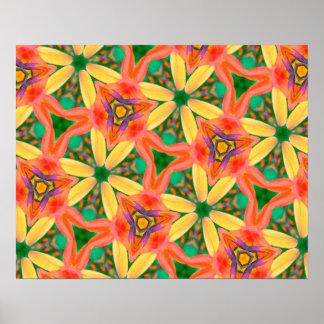 Het abstracte Groene Patroon van de Kunst, Perzik Poster