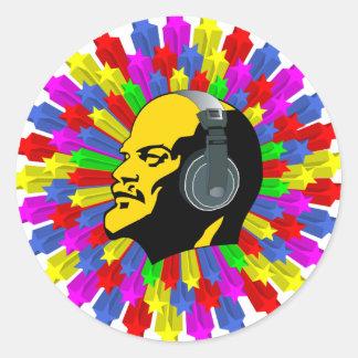 Het abstracte Hoofd van Lenin in de Cirkel van de Ronde Sticker