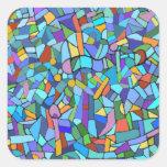 Het abstracte Kleurrijke Blauwe Patroon van het Vierkante Sticker