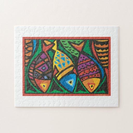 Het abstracte ontwerp van de kunst van vissen puzzel zazzle - Separateur van stuk ontwerp ...