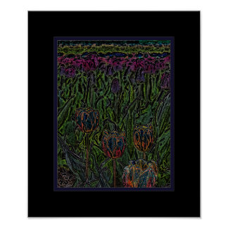 Het abstracte Oranje Blauwe Paarse Poster van het