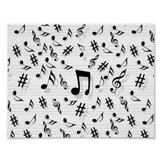 Het abstracte Patroon van de Muzieknoten van de Poster